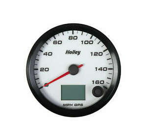 Holley 160 Mph Gps Speedometer White Face Analog Led Dimmable Backlit Gauge