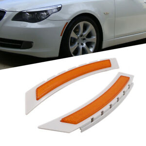 Pair Front Side Marker Bumper Amber Reflector For 08 10 Bmw Lci E60 5 Series