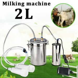 2l Electric Milking Machine Vacuum Impulse Pump Stainless Steel Cow Milker Us