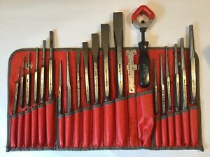 Snap On 22 Piece Punch Chisel Chisel Holder Set In Kit Bag C 211a Nice Free Ship