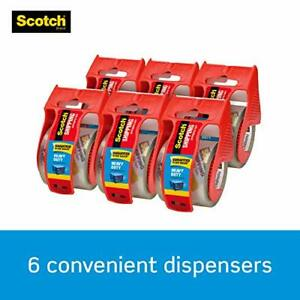 Heavy Duty Shipping Packaging Tape 6 Rolls With Dispenser 1 88 X 800 Inches