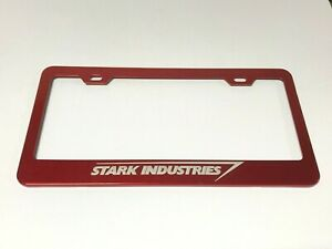 Laser Engraved Red Stainless Steel License Plate Frame Ironman Stark Industries