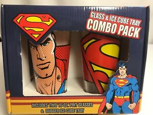 DC Comics SUPERMAN Glass and Ice Cube Tray Combo Pack ~ NEW
