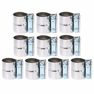 10pcs 2 Stainless Steel Lap Joint Exhaust Clamp For Catback Muffler Downpipe