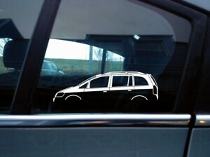 2x Car Silhouette Stickers For Opel Zafira A 1st Gen Mk1 Retro