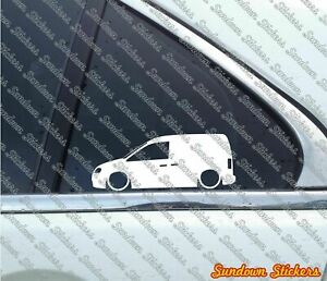 2x Lowered Car Outline Stickers For Volkswagen Vw Caddy 2k Mk3 Tdi Van
