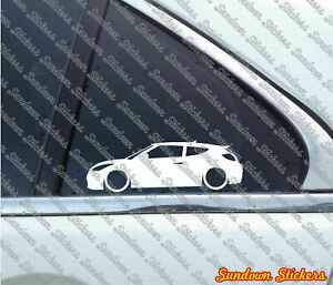 2x Lowered Car Outline Stickers For Hyundai Veloster Turbo