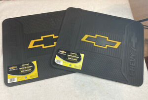 Set Of 2 Chevrolet Chevy Bowtie Car Truck Black Rubber Floor Utility Mats Mat