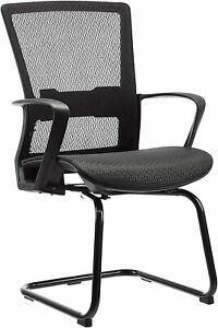 Mid back Guest Reception Chair With Contoured Mesh Seat For Home Office Black