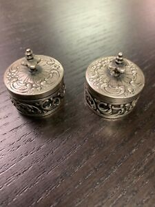 Antique Pair Sterling Silver Repousse Round Cream Pill Boxes