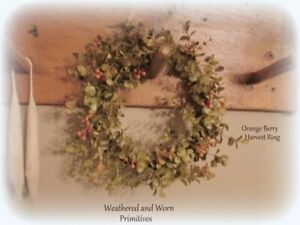 Primitive Country 11 Fall Mini Wreath Candle Ring Orange Berries 6 5 Center