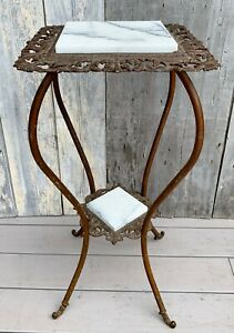 Antique Victorian 2 Tier Gold Gilt Iron Brass Marble Plant Stand Table 1880