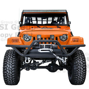 New Tubular Rock Crawler Front Bumper winch Plate For 97 06 Jeep Wrangler Tj