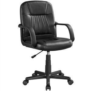 Office Mid back Desk Chair Height Adjustable Leather Swivel Task Chair For Teens