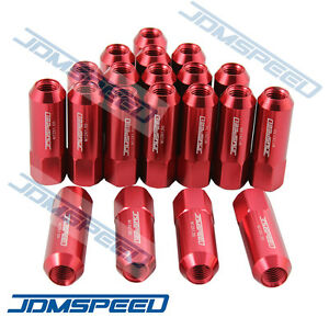 20pc Red Jdmspeed M12x15 60mm Extended Forged Aluminum Tuner Racing Lug Nut Set Fits Honda