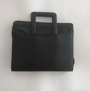 Preowned Black Leather Business Check 3 Ring Binder Briefcase For 3 up Checks
