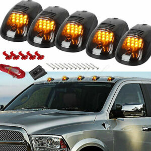 5x Smoked Lens Rooftop Cab Running Light Led Amber Lamp For Dodge Ram 2500 3500