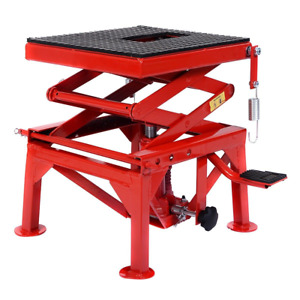 Motorcycle Hydraulic Scissor Floor Red Jack Lift Tool Equipment 300 Lb Free Ship