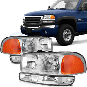 For 1999 2006 Gmc Sierra 00 06 Yukon Headlights Assembly Bumper Lamps 4pcs