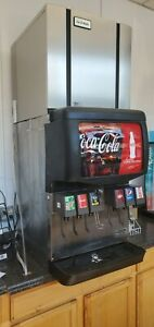 6 Valve Flavor Head Soda Fountain Counter Top Unit with Ice Maker Hoses Pumps