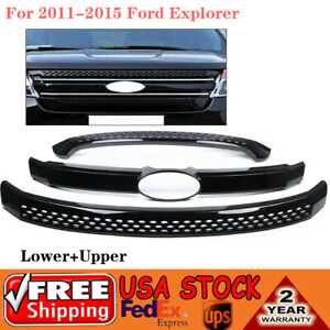 For 2011 2015 Ford Explorer Snap On Grille Overlay Front Grill Covers Black