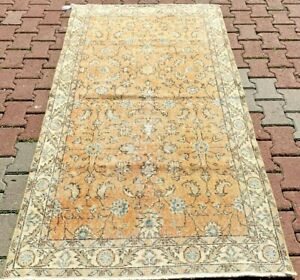 Turkish Hand Knotted Ethnic Rug Oushak Oriental Bohemian Style Wool Carpet 4x7ft