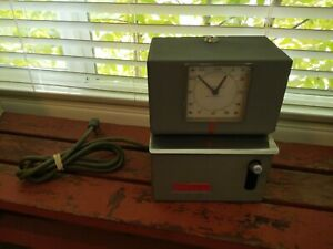 Vintage Lathem Industrial Employee Time Clock Punch Card Recorder