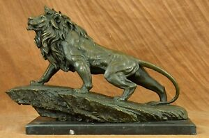 Real Solid Bronze Sculpture A Large Animal Male Lion Statue Marble Base Figurine