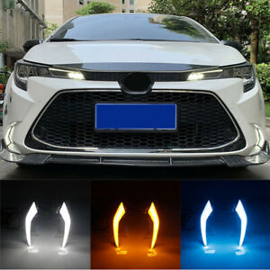 Drl Led Daytime Running Light Fog Lamp W Turn Signal For Toyota Corolla Levin 19