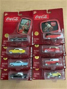 Coca-Cola Johnny Lightning 2006 Coke Brand 1:64 Cars + Collector Trays Set of 8