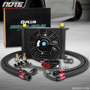 28 Row 10an Universal Engine Transmission Oil Cooler Kit 7 Electric Fan Kit