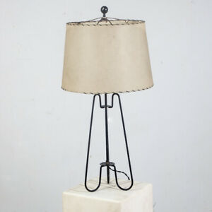 Mid Century Modern Table Lamp Metal Hairpin Light Black Vintage 50s Thurston Mcm