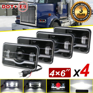4pcs 4x6 Led Headlights Hi lo Beam Drl H4656 H4651 For Western Star 4900 Semi
