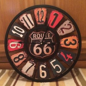 Route 66 Clock Vintage Style License Plate Gas Oil Pump Garage Wall Art Emblem