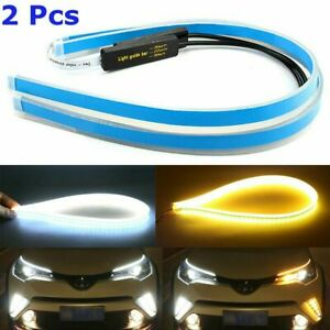 60cm Led Drl Light Slim Amber Sequential Flexible Turn Signal Strip Headlight X2