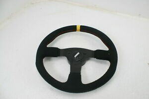 Grant 8547 Suede Round Racing Steering Wheel Yellow Center Line Red Stitching