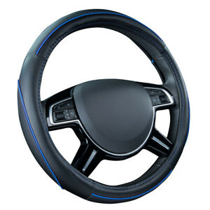 Car Pass Car Steering Wheel Cover Blue Color Leather Non Silp Antidust For Cars