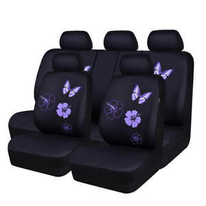 Beatiful Purple Color Full Seat Mesh Butterfly Universal Car Seat Cover For Girl