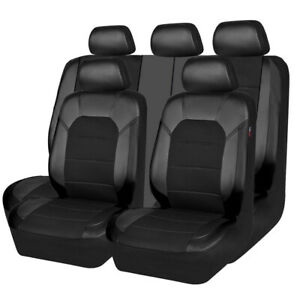 Car Pass Car Seat Covers Full Black Sandwich Leather New Arrival For 40 60 60 40