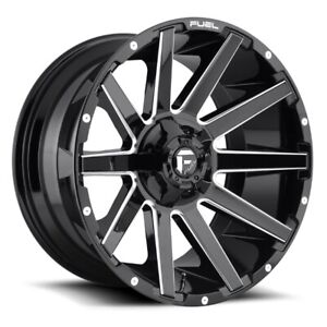 Set Of Four Fuel Wheels D615 Contra 22x10 8x180 18 Gloss Black Milled