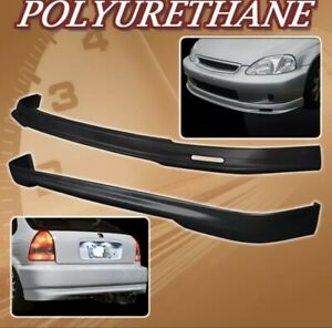 New 99 00 Civic 3dr T m Poly Urethane Pu Front Rear Bumper Lip Spoiler Body Kit
