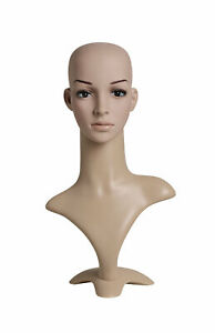 Female Plastic Mannequin Head With Base Height 19 Head Circumference 21