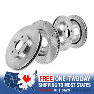 Front Rear Drilled Slotted Brake Rotors For 2011 2014 Ford Mustang 5 0