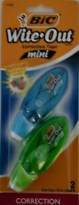 Bic Wite out Mini Correction Tape Twist Cap Item 51382 2 Pack Blue Green