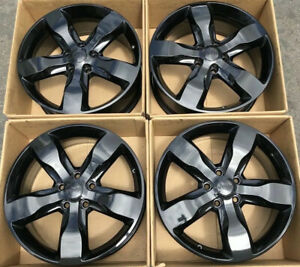 20 Jeep Grand Cherokee Factory Wheels Rims Gloss Black Oem Set Of 4 9107