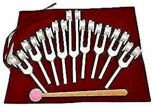 Sacred Tuning Fork Solfeggio Set Of 9 Anodized Weighted Tuning Forks With Mallet