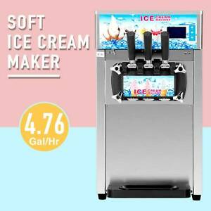Commercial Soft Serve Ice Cream Machine 3 Flavors Silver 18l h Silver Ss 1200w