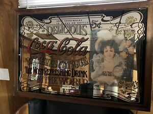 "LARGE VINTAGE COCA COLA MIRROR IN WOOD FRAME CLASSIC PUB BAR SIGN (36""x24"")"