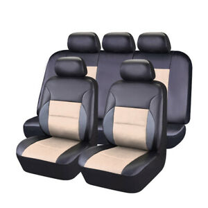 Car Pass 11pcs Breathable Sandwich Leather Beige Universal Fit Car Seat Covers