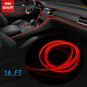 Car Neon Lamp Atmosphere Fluorescent Strip16ft El Wire Red Cold Light For Honda